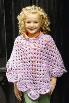 Martha Stewart 'Coming Home' Poncho: Kid's Size (Crochet) Martha Stewart 'Coming Home' Poncho: Kid's Size (Crochet) - Lion Brand Yarn Crochet Lion, Baby Girl Crochet, Crochet For Kids, Crochet Shawl, Free Crochet, Knit Crochet, Poncho Knitting Patterns, Crochet Patterns, Free Knitting