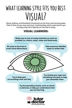 What learning style fits you best? Visual learner tips! Instructional Strategies, Instructional Design, Teaching Strategies, Teaching Tips, Learning Methods, Learning Techniques, Learning Styles, Reggio Emilia, Adult Learning Theory