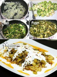 yogurtlu-pirasa-kavurmasi-tarifi Joghurt-Lauch-to-Koch Rezept sebze yemekleri Turkish Recipes, Ethnic Recipes, Turkish Kitchen, Vegetarian Recipes, Cooking Recipes, Yogurt Recipes, Palak Paneer, Food And Drink, Yummy Food