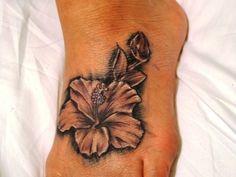 hawiaian flower tattoos | Pin Hawaiian Flower Foot Tattoo Tattoos For Women on Pinterest