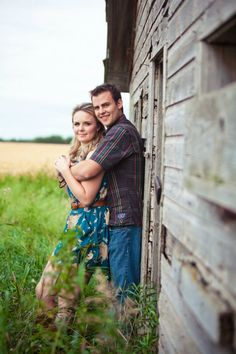 old barn engagement photo.