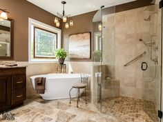 Roll in shower & free-standing tub.Houzz - Home Design, Decorating and Remodeling Ideas and Inspiration, Kitchen and Bathroom Design Corner Tub, Tub Remodel, Bathtub Remodel, Free Standing Tub, Classic Bathroom, Classic Bathroom Design, Bathroom Design Small, Bathroom Remodel Master, Bathroom Layout