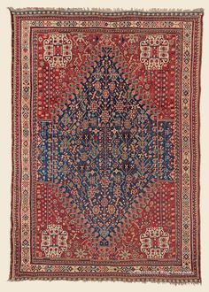"KHAMSEH, 5' 5"" x 7' 5"" — Circa 1910 —Price: $7,000, Southwest Persian Antique Rug - Claremont Rug Company"
