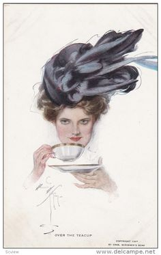 Fisher , Harrison : Woman drinking Tea , 1908 Item number: 231930416 SCVIEW - Delcampe.com