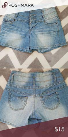 High waist Jean shorts Size 1, high waist Jean shorts from Blue Asphalt, 76% cotton, 22% polyester, 2% spandex, GUC! Blue Asphalt Shorts Jean Shorts