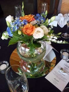 Table arrangement in round vase with a mix of Roses, Hydrangea's, Lisianthus and Lily of the valley. Created by Florist Ilene Round Vase, Flowers Delivered, Table Arrangements, Corsages, Lily Of The Valley, Gift Baskets, Hydrangea, Beautiful Flowers, Mothers