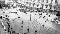 La avenida Nevski de Petrogrado, escenario de manifestaciones en los días de la Revolución de Octubre