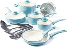 Find GreenLife Soft Grip Ceramic Non-Stick Cookware Set, Turquoise - online. Shop the latest collection of GreenLife Soft Grip Ceramic Non-Stick Cookware Set, Turquoise - from the popular stores - all in one Best Nonstick Cookware Set, Kitchen Cookware Sets, Specialty Cookware, Bakeware, Pots And Pans Sets, Ceramic Non Stick, Thing 1, Gourmet, Recipes