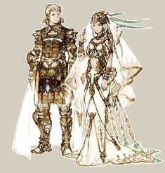 Rasler and Ashe Wedding Outfit Concept Art - Final Fantasy 12 (PS2) #ps2