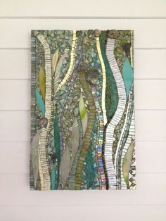 """""""The wind, the sands, and the surf"""", a delightful design collaboration with #interior #designer, Barbara Hirsh of elza b design (all photo credits go to her). Two panels of custom #mosaic art, each measuring 13"""" x 20"""" in the decorators show house in kittery point, Maine thru August 15. Http://www.oldyork.org and http://www.mosaicsbyariel.con"""