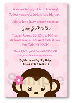 Girls baby shower invitation monkey theme chevron pink green by sweet girl monkey custom baby shower by littleprintsparties filmwisefo