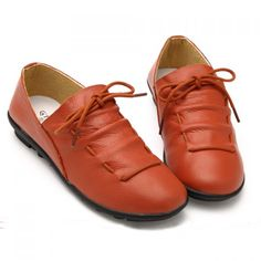 Casaul Lace-Up and Round Toe Design Women's Flat Shoes