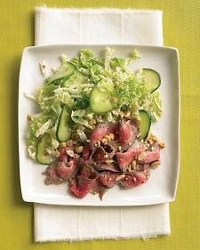 Steak with Cucumber and Cabbage