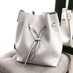white bucket bag