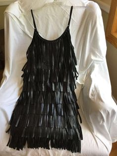 Women's FRINGED Black LEATHER Runway MINI Dress SML Rare Trends Unique Couture #RareTrends #FringeDress #Party