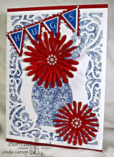 Our Daily Bread Designs, Asters and Leaves dies, Vintage Flourish Pattern die, Pennants dies, Pennant Alphabet, Decorative Vase die, Christian Faith Collection papers, designer Linda Carson