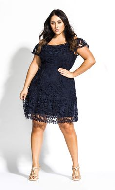 Embroidered for elegant summer nights out, the Dream of Lace Dress style has launched in a trending navy colourway. Key Features Include: - Adjustable shoulder straps - Single layered frill neckline - Back zip closure - Embroidered off shoulder cov Plus Size Lace Dress, Plus Size Cocktail Dresses, Plus Size Party Dresses, Evening Dresses Plus Size, Plus Size Dresses To Wear To A Wedding, Navy Blue Bridesmaid Dresses, Lace Dress Styles, Dresses Elegant, Dresses Short