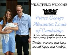 Welcome Prince George Alexander Louis of Cambridge! Prince William and Kate chose a lovely name for their baby boy!