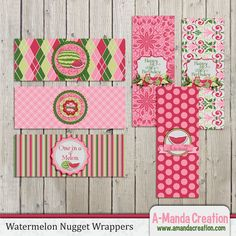 Watermelon Party Printable Nugget Wrappers, perfect accent to goody bags.