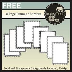 *Free* Black and White Clip Art / Page Frames: Commercial Use ok - print and have kids draw on the papers - drawings will be automatically framed : )