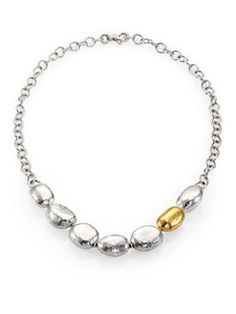 GURHAN - Organic 24K Yellow Gold & Sterling Silver Nugget Necklace