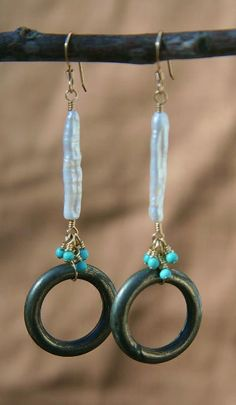 Pyrite rings dangle with tiny turquoise cluster and stick pearls on 14k gold fill earwires