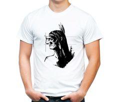 Белая мужская футболка - Індіанець, автор - yu.yarovyj@gmail.com - MadeMyCreative