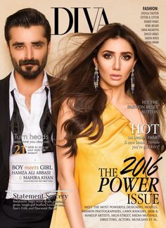 Mahira and Hamza on the cover of Diva's August issue.