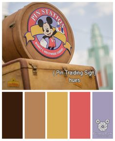 Here are the colors hues of the Pin Traiding sign at Disney's Hollywood Studios in the Walt Disney World Resort.