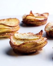 Muffin-Pan Potato Gratins. Make them garlic, mustard, and liquid smoke, and some cumin... Vegan back-o's if I can ever find them!