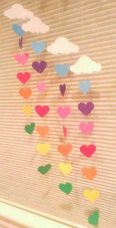 Rainbow & Cloud Garland, Rainbow Birthday Party, Pride, Over the Rainbow : Rainbow & Cloud Garland Baby Shower Nursery Decor Paper Mothers Day Crafts For Kids, Valentine's Day Crafts For Kids, Valentine Day Crafts, Toddler Crafts, Preschool Crafts, Easter Crafts, Valentines, Rainbow Cloud, Over The Rainbow