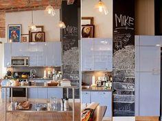 Modern light blue loft kitchen in Los Angeles Kitchen Storage Bench, Loft Kitchen, Kitchen Tips, Best Kitchen Colors, Kitchen Wall Colors, Kitchen Wall Panels, Blue Kitchen Designs, Diy Kitchen Lighting, Kitchen Layout Plans