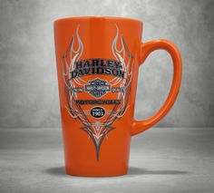The bright orange color, flames, and pinstriping will motivate you to get it in gear. | Harley-Davidson Pinstripe Flames Ceramic Latte Mug