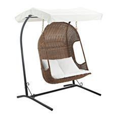 Modway Furniture Eei 2278 Brn Whi Set Vantage Outdoor Patio Swing Chair In Brown White, Home Decor Furniture Outdoor And Patio Furniture Outdoor Chairs And Stools Wicker Porch Swing, Outdoor Patio Swing, Wood Swing, Porch Swings, Wooden Hammock, Wooden Canopy, Outdoor Fun, Backyard Patio, Backyard Ideas