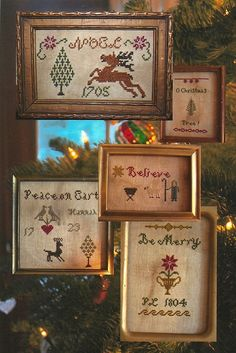 Primitive Folk Art Cross Stitch Pattern:  TIDINGS of COMFORT and JOY -- (5 Little Christmas Samplers) on Etsy, $14.95
