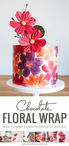 Would be super pretty for Mother's Day | Chocolate Floral Wrapped Cake | by Erin Gardner for TheCakeBlog.com