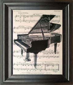 Dictionary Art Vintage Piano Recycled book print by Blitzrider, $9.99 Dictionary Art Vintage Piano Recycled book print illustration sheet music instrument for him her musician under 25 gifts for dad band notes