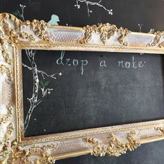 Gold Baroque Wedding Chalkboard Ornate Menu Board Shabby Chic Large Antique Vintage Mirror Frame Painted White by…