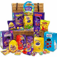 Cadbury's Biggest Easter Egg Hamper, a real wicker hamper filled with a selection of #chocolate #easter eggs.