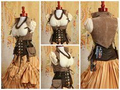 *NOTE* These are marked down because the color of straps that come off of the corset to hook onto the pockets is brown, and the straps coming up out of the pockets are black. Sizing: S-Fits Corset si