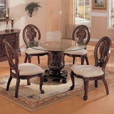 Shop Tabitha Traditional Dark Cherry Wood Galss Round Dining Table with great price, The Classy Home Furniture has the best selection of to choose from Round Dining Room Sets, Glass Round Dining Table, Casual Dining Rooms, Dining Table In Kitchen, Dining Table Chairs, Dining Room Furniture, Round Glass, Dinning Set, Glass Table