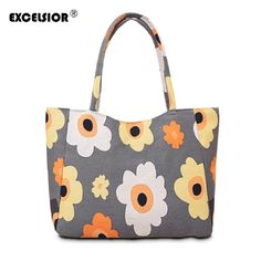 Handbags EXCELSIOR Waterproof Canvas Casual Zipper Shopping Bag Large Tote  Women Handbags Floral Printed Ladies Single Shoulder Beach Bag   Find out  more on ... 408f5dd3ab5e9