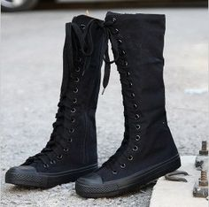 New Women Punk EMO Rock boots shoe sneaker knee high CCL 011 Emo Shoes, Sock Shoes, Cute Shoes, Me Too Shoes, Shoe Boots, Shoes Heels, Vans Boots, Saddle Shoes, Louboutin Shoes
