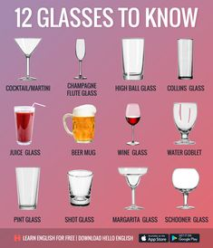 English Vocabulary ©: 12 Glasses to Know Learn English For Free, Learn English Words, Food Vocabulary, English Vocabulary Words, English Tips, English Lessons, English Writing, English Grammar, English Language Learning