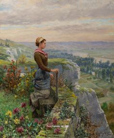Daniel Ridgway Knight – On the Terrace, Rolleboise Oil on canvas 22 x 18 inches Signed and inscribed Paris Painted circa 1900 French Paintings, European Paintings, Vintage Paintings, Academic Art, Impressionist Landscape, Art Deco Diamond, Diamond Brooch, Classical Art, Unique Image