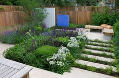Small Garden / garden design / on TTL Design, Ilike the steps and the benches. Back Gardens, Small Gardens, Outdoor Gardens, Herb Garden Design, Small Garden Design, Garden Stepping Stones, Garden Spaces, Dream Garden, Backyard Landscaping