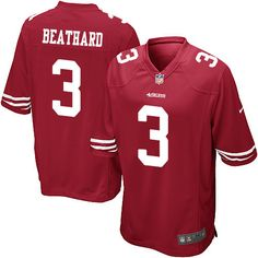 5f0f82081 Men s Nike San Francisco 49ers  3 C. J. Beathard Game Red Team Color NFL  Jersey Football