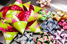 DIY bows out of wrapping paper.