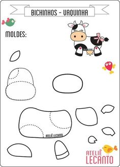 moldes de vaquitas en fieltro o foamy12 Felt Crafts Patterns, Applique Patterns, Sewing Crafts, Sewing Projects, Quiet Book Patterns, Cow Pattern, Free Pattern, Felt Books, Quiet Books