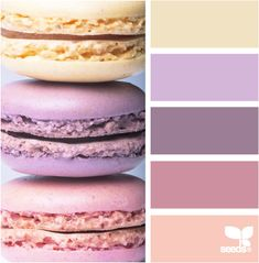 Fun, whimsical, and sweet wedding color palette inspiration in shades of lavender, gold, and peach based on macaroons
